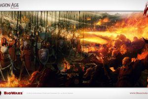bioware fire fantasy art dragon age: origins war battle video games dragon age