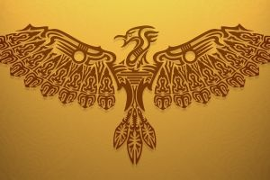 birds fly artwork tribal  simple background yellow brown yellow background