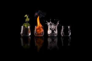 black background fire black plants reflection glass four elements humor science fiction liquid earth water elements air digital art