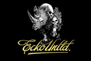 black background skull rhino simple background ecko