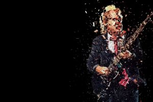 black background typographic portraits angus young ac/dc