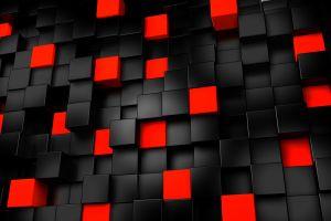 black digital art cgi render red cube