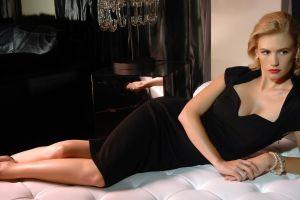 black dress in bed january jones actress women