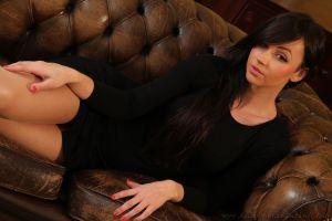 black dress legs model women painted nails brunette dress