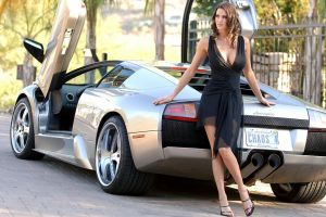 black dress women with cars tiffany taylor lamborghini curly hair see-through clothing brunette cleavage big boobs women