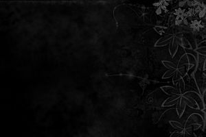 black leaves flowers pattern abstract dark monochrome