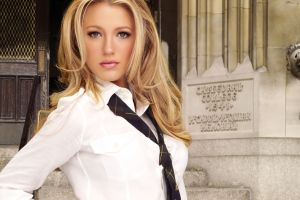 blake lively model blonde looking at viewer gray eyes tie women face