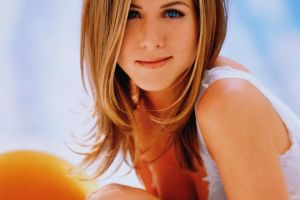 blonde actress face women cleavage celebrity blue eyes jennifer aniston