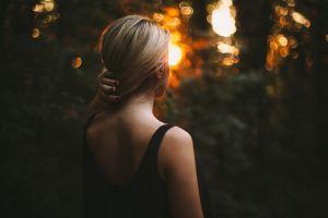 blonde black dress women