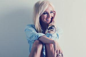 blonde blouses sitting model bracelets smiling long hair women