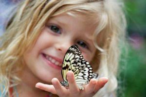 blonde butterfly children smiling