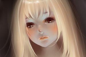 blonde fan art face anime girls