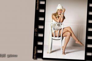 blonde heidi klum sitting white tops barefoot chair model women woolly hat