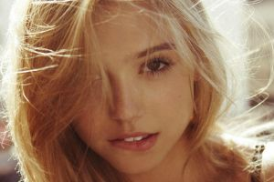 blonde lips alexis ren model portrait face looking at viewer biting lip hair in face women