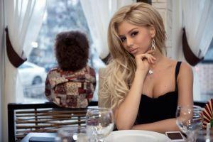 blonde women long hair necklace