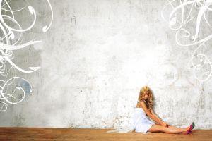 blonde women white dress