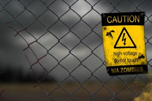 blood high voltage humor warning signs sign fence zombies digital art apocalyptic