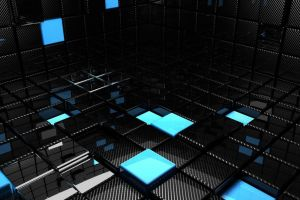 blue abstract square black cgi dark render