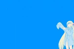 blue background anime girls vector chobits chi
