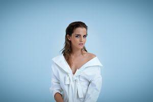 blue background celebrity actress portrait emma watson women