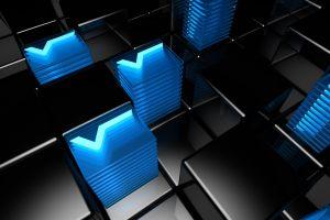 blue black abstract cyan cube digital art