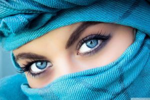 blue blue eyes women makeup model closeup eyes looking at viewer covering face face