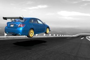 blue cars rally cars subaru impreza  car