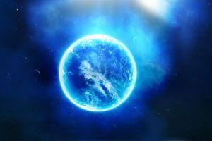blue cyan space glowing space art digital art stars planet