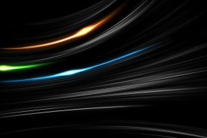 blue digital art selective coloring glowing green lines minimalism black background beam shapes abstract orange wavy lines