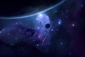 blue digital art stars render moon purple shooting stars space art space joeyjazz planet
