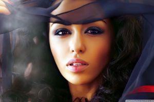 blue dress face black eyes women model