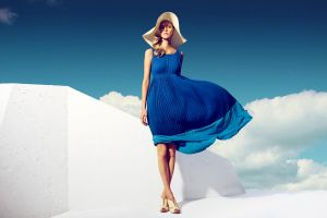 blue dress fashion blonde model clouds windy women