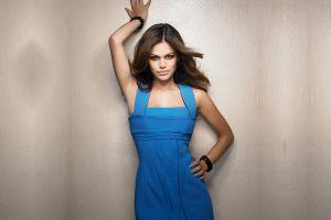 blue dress simple background brunette hands on hips actress rachel bilson women arms up
