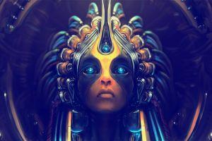 blue eyes artwork cyborg digital art blue eyes face