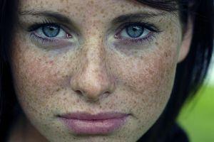 blue eyes freckles women brunette face eyes