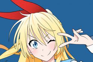 blue eyes long hair anime ribbon nisekoi kirisaki chitoge blonde hair ornament school uniform anime girls