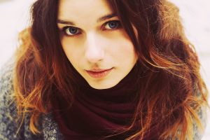 blue eyes redhead face portrait closeup model women scarf brunette looking at viewer