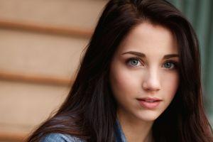blue eyes smiling looking at viewer long hair face brunette portrait denim actress emily rudd women model