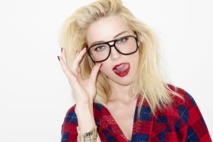 blue eyes women with glasses looking at viewer open mouth amber heard licking lip actress women plaid shirt blonde long hair