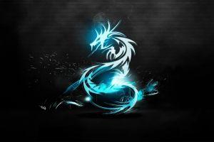 blue fire dragon dragon cyan