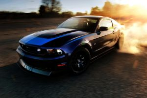 blue ford mustang car