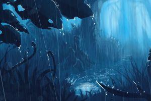 blue forest artwork fantasy art cyan anime rain