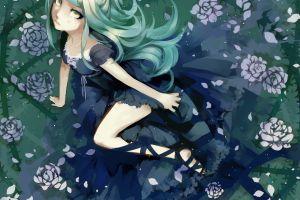 blue hair anime cyan hair tears anime girls original characters