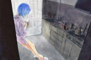 blue hair anime girls kitchen fantasy art cup