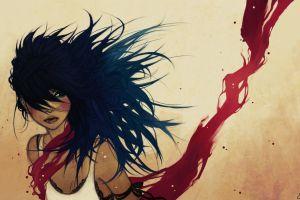 blue hair blue red artwork long hair women