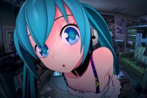 blue hair headphones vocaloid blue eyes eyes hatsune miku