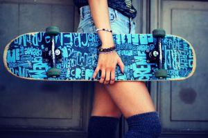 blue skateboard bracelets jean shorts model women cyan
