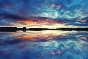blue symmetry landscape nature clouds reflection lake sunset sky