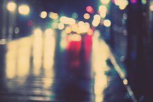 blurred night city bokeh lights