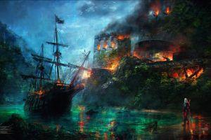 boat castle ship assassins  water digital art assassin's creed video games assassin's creed: black flag